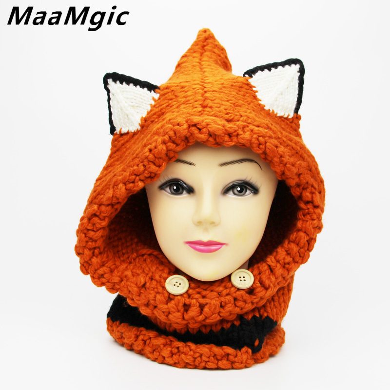 2017New Cat Fox Ear Baby Knitted Hats with Scarf Set Winter Windproof Kids Boys Girls Warm Winter Hat for Children Beanies Caps new star spring cotton baby hat for 6 months 2 years with fluffy raccoon fox fur pom poms touca kids caps for boys and girls