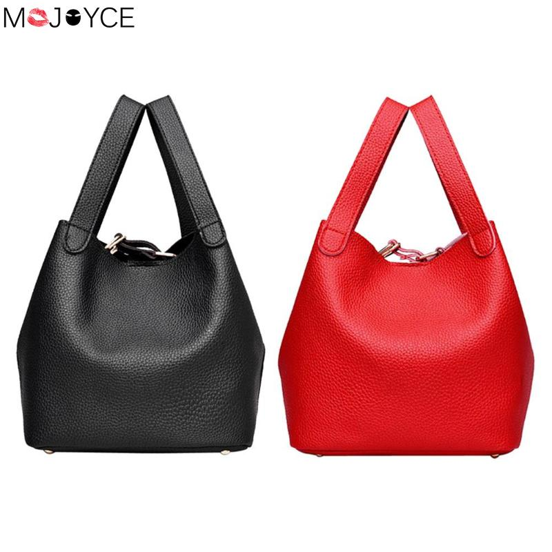 Women Small Bucket Shoulder Bags PU Leather Handbags Solid Top-Handle Bags Bolsas Feminina mochila Fashion Female Handbag 2018 new fashion top handle bags women cowhide genuine leather handbags casual bucket bags women bags rivet shoulder bags 836