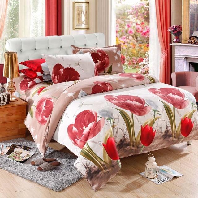 4Pcs 3D Bedding Set Queen Size Bedclothes Home Textiles comforter bedding sets Tulips Quilt Cover+Bed Sheet + 2 Pillowcases