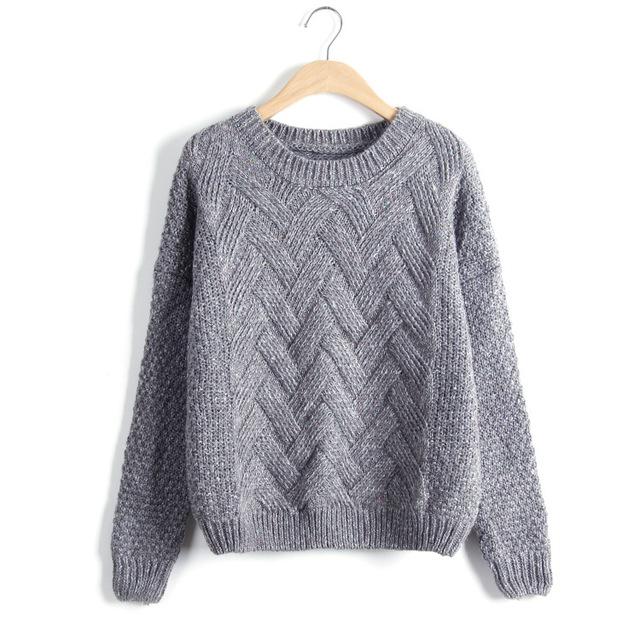 Suéter tejido de punto con cable o cuello