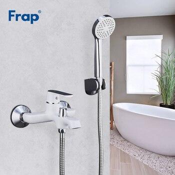 FRAP Bathtub Faucets bathroom shower mixer brass chrome wall mounted shower faucet shower head set white green orange bath mixer
