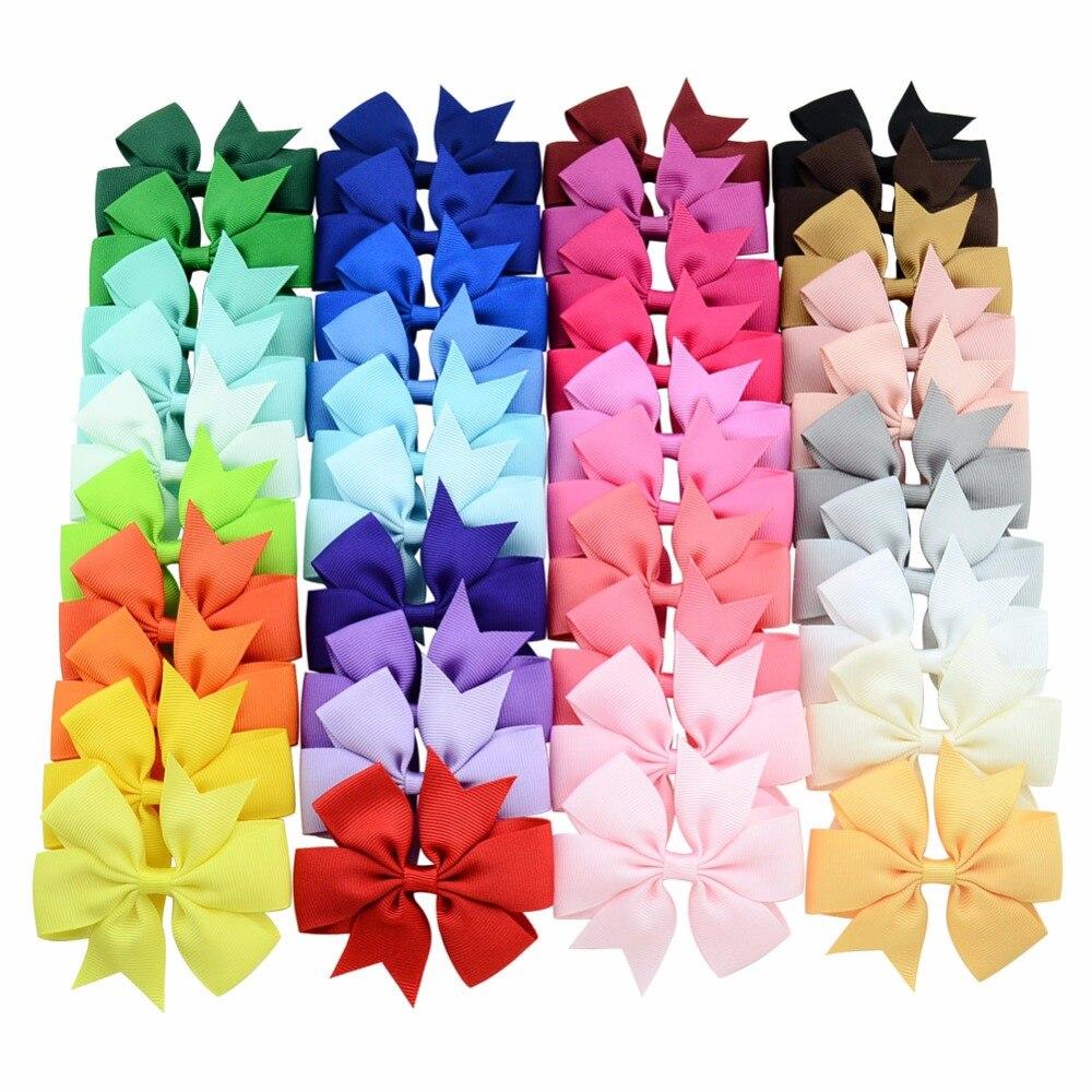 20-unids 40 piezas de colores sólidos grogrén cinta lazos Clips horquilla para el pelo de niña lazos Boutique Pinza para el pelo accesorios para el cabello para niños 564