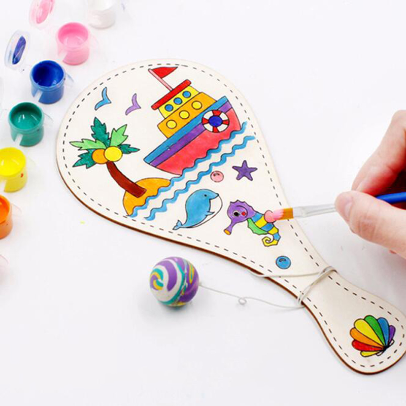 Creative Hot DIY Manual Painting Pat Ball Educational Handmade Game Painting DIY Wooden Toy Racket Graffiti Toys For Children