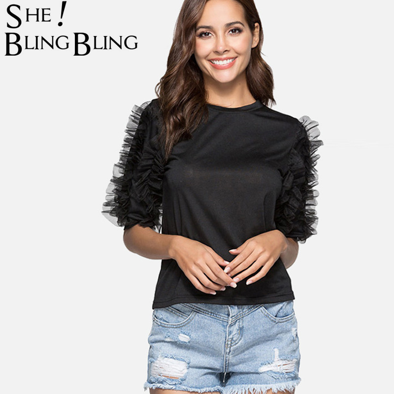 ee6d40f21bf SheBlingBling 2 Colors Women Casual Tops Fashion Mesh Frill Embellished  Lantern Sleeve Fit T-Shirt