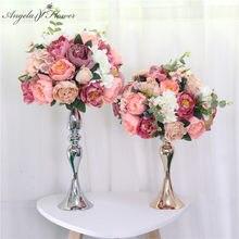 Boule de fleur artificielle en soie, personnalisée 35cm, boule de fleur, 13 couleurs disponibles, pour arrangement de centre de table, pour fond de mariage