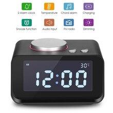 EAAGD cyfrowy budzik zegar Radio FM głośny Alarm zegar dla osób o mocnym śnie z podwójnym budzikiem, AUX in i podwójne porty usb do ładowania