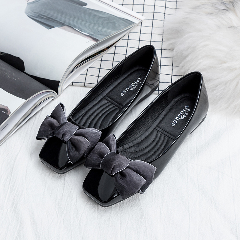 cc9e2c750 New Patent Leather Flat Women Ballet Flats Shoes Women Plus Size 41 Black  Square Toe Bowtie Shoes Black For Lady