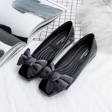 New Patent Leather Flat Women Ballet Flats Shoes Women Plus Size 41 Black Square Toe Bowtie Shoes Black For Lady цена в Москве и Питере