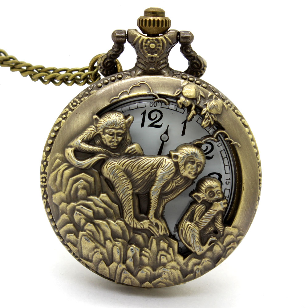 100% Quality Hot Chinese Zodiac 12 Bronze 3 Monkey Playing Hollow Quartz Pocket Watch Necklace Pendant Carving Back Womens Men Gifts P246 Wide Varieties Pocket & Fob Watches