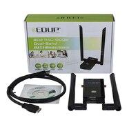 Toptan 1200 Mbps 11AC 2.4 GHz/5.8 GHz dual-band kablosuz ağ kartı adaptörü USB3.0 ile müdahale Çift antenler
