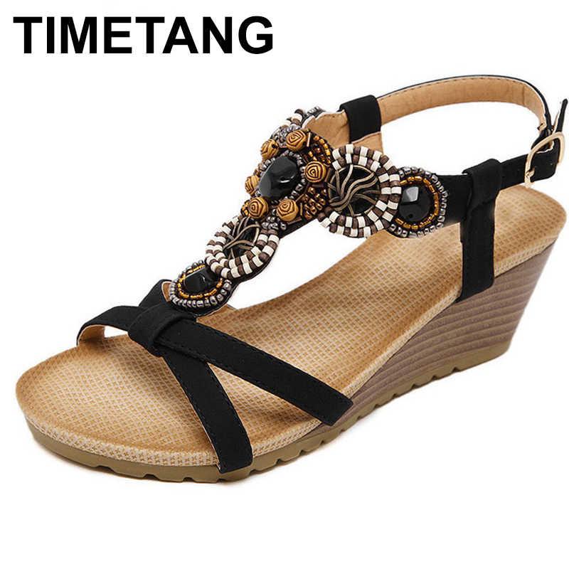 c14de23b8d3432 TIMETANG New Arrival Women Sandals Wedges Shoes Casual Shoes Women Beading  Bohemia Fahion High Heels Plus