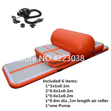 Free Shipping A Set 4 air track 1 roller 1 pump Inflatable Air Track Water Trampoline