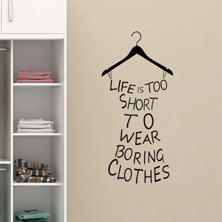 Diy sexy hanger wall stickers life is too short quotes vinyl wall sticker girls room art decals decor cf017 in wall stickers from home garden on