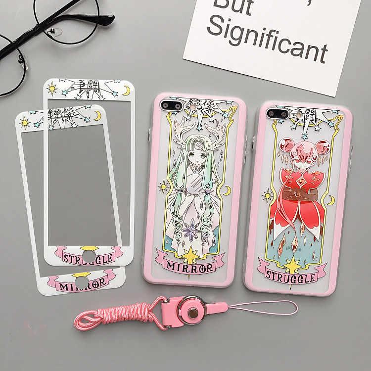 Чехол для iphone X Card Captor Sakura + пленка для экрана из закаленного стекла для iphone 8 8 plus 6 6 S plus 7 7 plus Прозрачная крышка + пленка