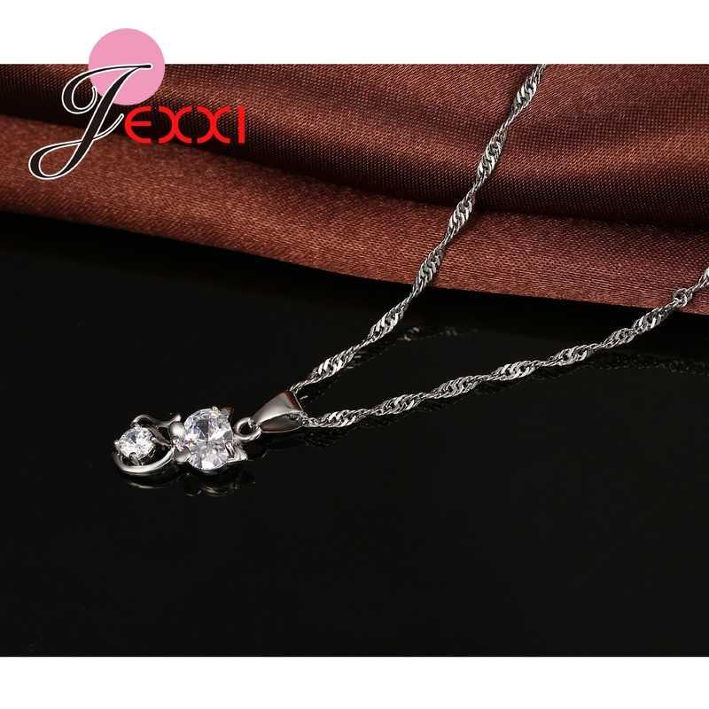925 Sterling Silver Cubic Zirconia Wedding Jewelry Sets AAA CZ Crystal  Cute Animal Cat Necklace Earrings Women Collar
