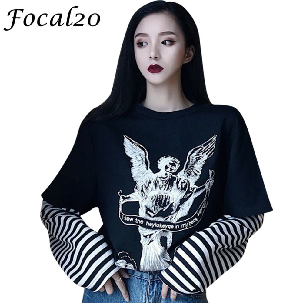 Focal20 Streetwear Angel Wings Stripe Women Sweatshirt Pullover Long Sleeve Causal Sweatshirt Oversize Loose Tracksuit