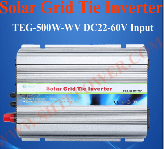 24V 120V 500W solar on grid tie inverter, grid tie solar micro inverter 500watt, 24v to 120v 500w micro grid tie inverter for solar home system mppt function grid tie power inverter 500w 22 60v