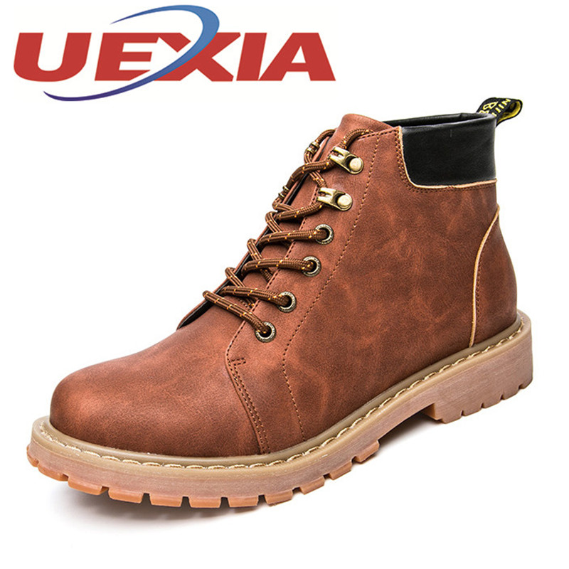 Big Size 45 Leather Men Boots Ankle Boots Winter Autumn Men'S Motorcycle Martin Snow Boots Vintage Casual High Top Shoes Outdoor 2015 men fashion martin boots men pu leather winter ankle boots motorcycle winter men boots