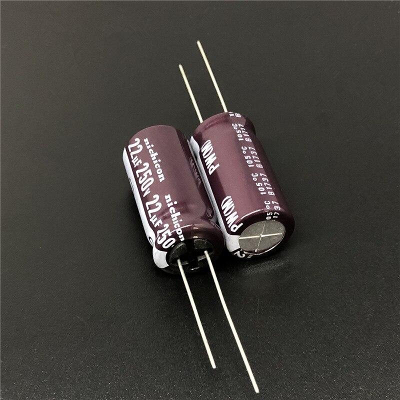 10pcs 22uF 250V NICHICON PW Series 12.5x25mm Low Impedance 250V22uF Aluminum Electrolytic Capacitor