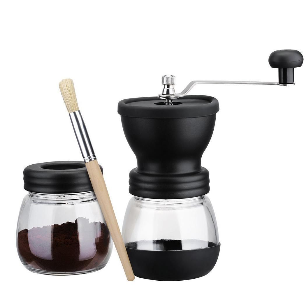 Mini Manual Ceramic Coffee Grinder Stainless Steel Hand-crank Coffee Grinder with Storage Jar Easy Cleaning Home Kitchen Black