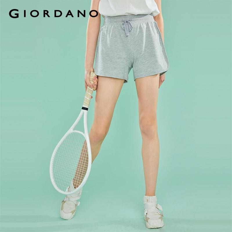 Giordano Women Shorts Women Elastic Waist Drawstring Smooth Fabric Casual Summer Shorts Women Banded Cuffs Pocket Short Femme
