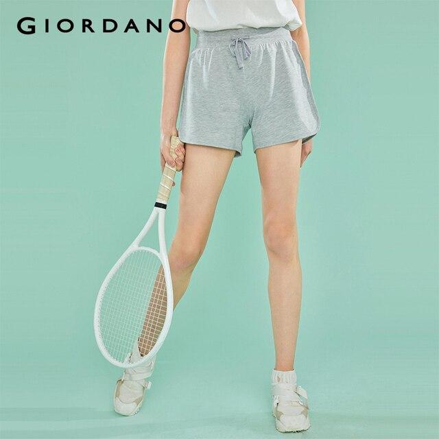 Giordano damskie szorty damskie elastyczny sznurek do ściągania talii gładka tkanina na co dzień letnie spodenki damskie mankietami w paski kieszeń krótki Femme