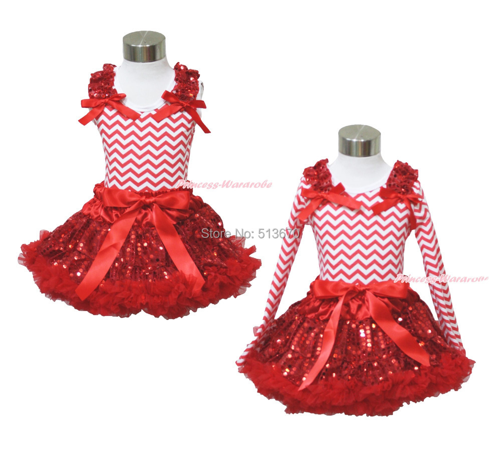 XMAS Plain Ruffle Bow Red White Chevron Top Bling Sequin Skirt Girl Outfit 1-8Y MAPSA0092 red black 8 layered pettiskirt red sparkle number ruffle red bow tank top mamg575