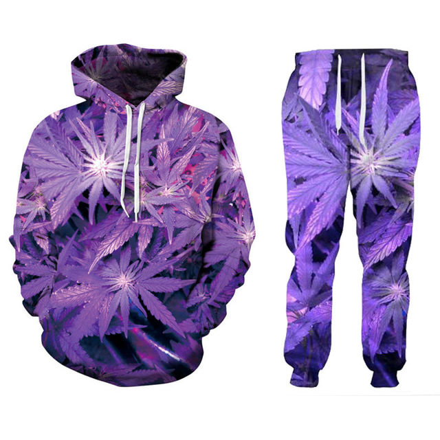 13a4e3ed6765 New Men Women s Purple Weed 3D Print Fashion Tracksuits Crewneck Hip Hop  Sweatshirt And Pants 2 Pcs Set Hoodies Couple Clothing