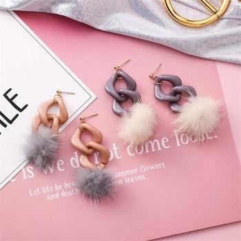 2018 корейская мода акрил спираль цепи длинные волосы мяч серьги осенние и зимние новые круглые серьги из волос женские ювелирные изделия