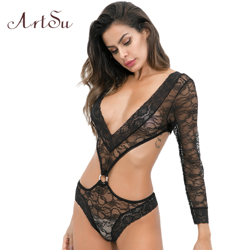 Bodysuits Artsu Hollow Out Lace Women Sexy Bodysuit V-neck See-through Black Long Sleeve Bodycon Female Body Romper Bodysuits Asju41106