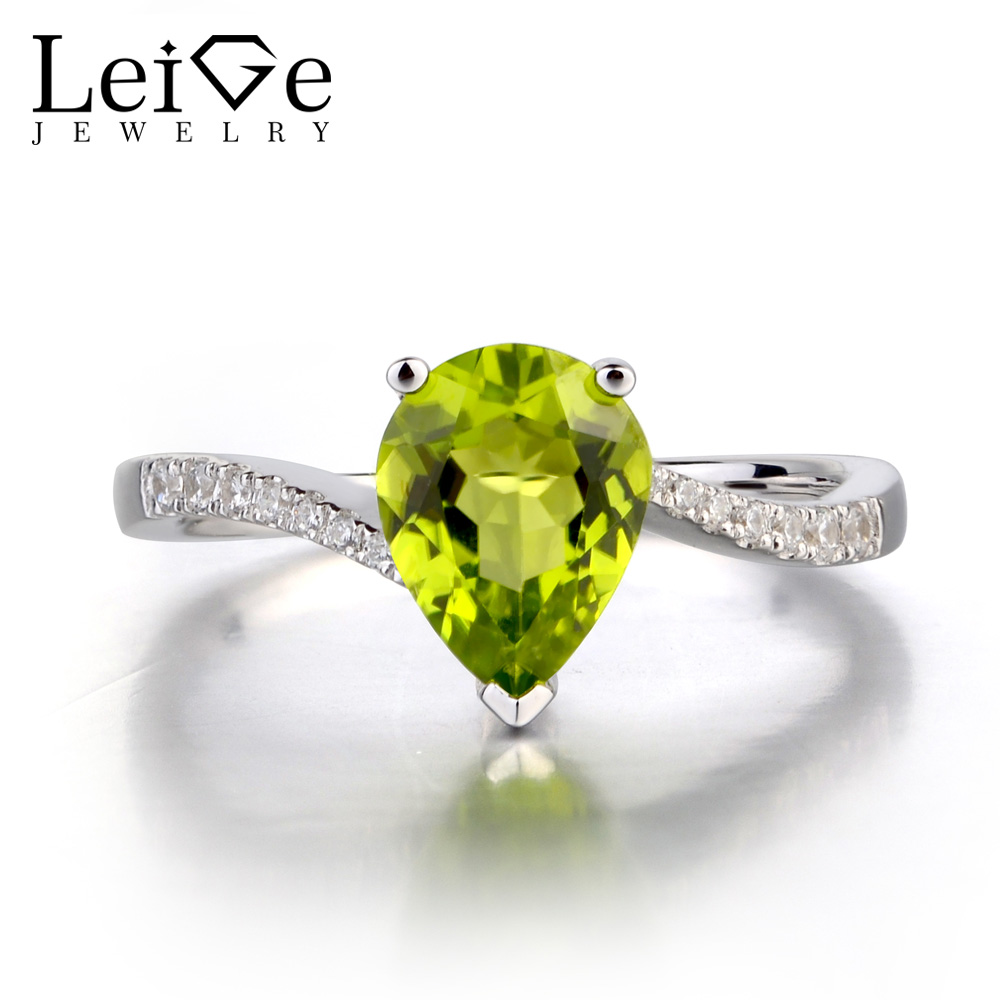 Leige Jewelry Natural Peridot Ring Wedding Engagement Rings for Woman Pear Cut Sterling Silver Green Gemstone