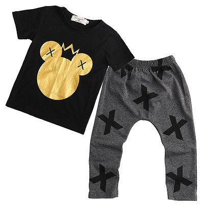 2016 новый комплект одежды для младенцев хлопковая футболка для мальчиков + штаны комплекты для детей летняя одежда с героями мультфильмов дл...