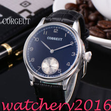 Newest Luxury Corgeut 44mm Black Dial Stainless Steel case Hand Winding Mechanical 6498 movement Men's Mechanical Wristwatches