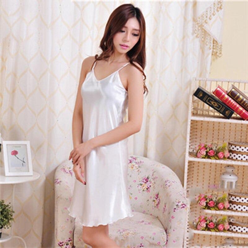 plus size Women sleepwear 2018 Sexy Nightwear Spaghetti straps Silk like mini Dress Sleepwear Slip dress