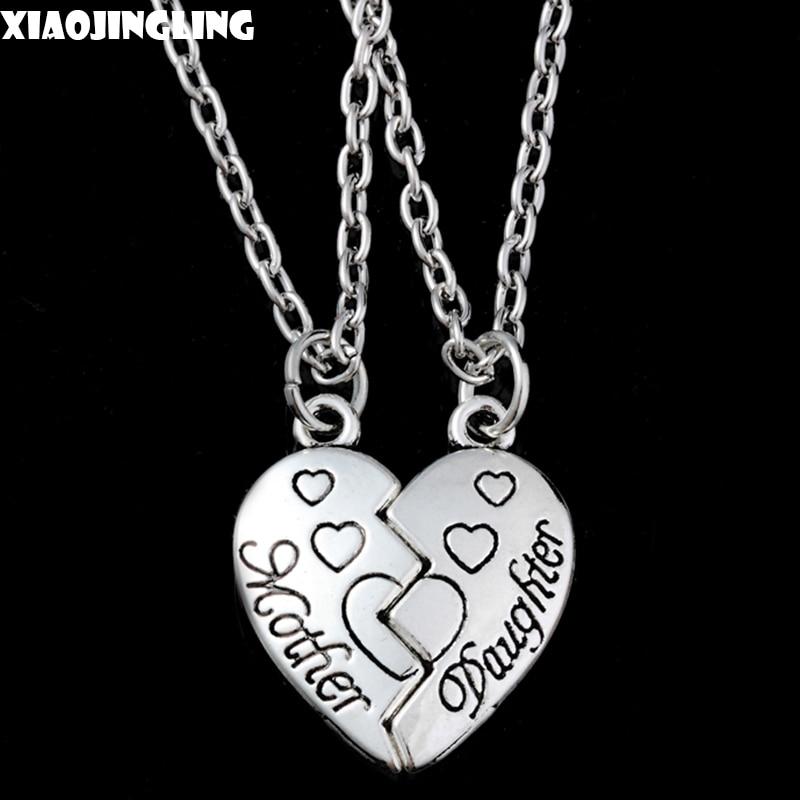 c211669344ac Xiaojingling 1 par COLLAR COLGANTE de corazón madre hija aleación de zinc  enlace cadena collar joyería de cadena para el cumpleaños