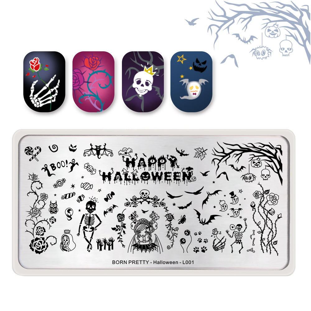 <font><b>BORN</b></font> <font><b>PRETTY</b></font> Candy Rose Ghost Stamping Template Zombie Rectangle Manicure Nail Printing Plate Stencil for Halloween Day <font><b>L001</b></font> image