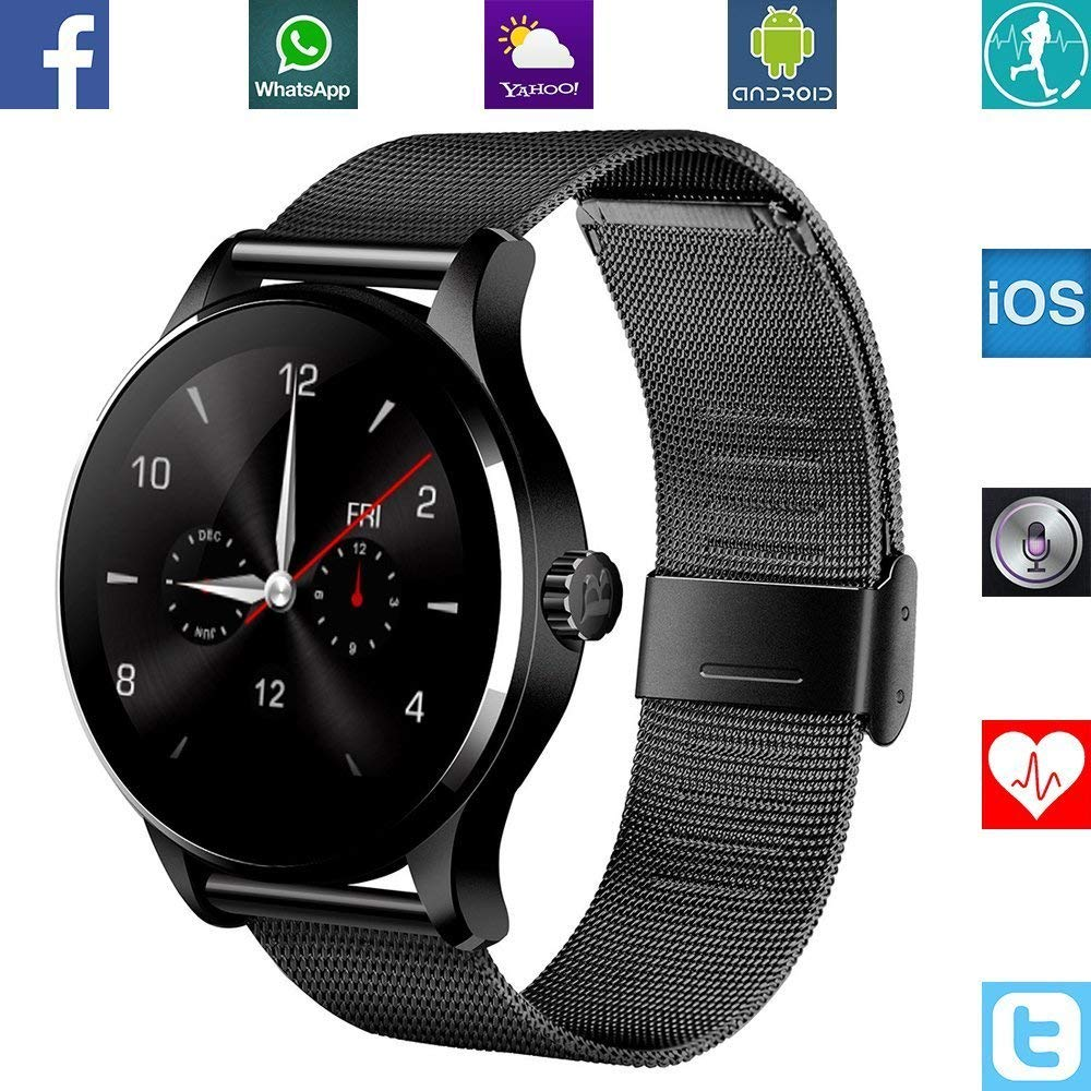 K88H Smart Watch 1.22 Inch IPS Round Screen wristband Support Sport Heart Rate Monitor Bluetooth SmartWatch For IOS Android ataliqi k88h smart watch round screen support heart rate monitor bluetooth smart watch for apple huawei xiaomi phone ios android