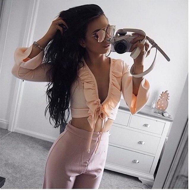 6c84e2a2d0a5f5 Sexy Fashion Ruffles Pink Sweet Shirt Women Casual Crop Top Summer Lace up  V-Neck Off Shoulder Women Blouse Chiffon Bandage Tops
