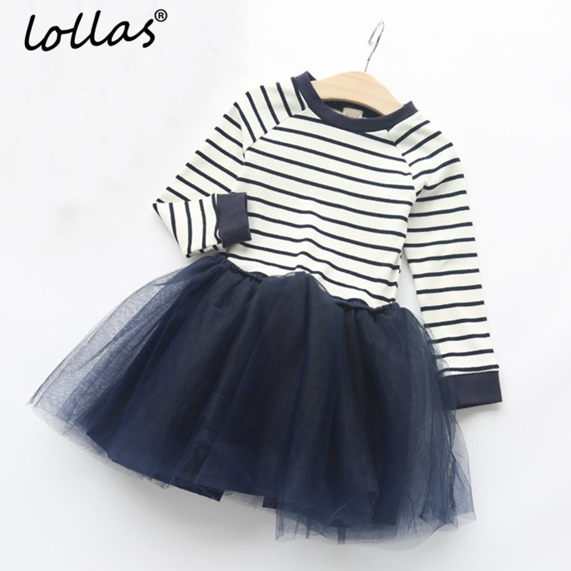 Lollas 2018 Spring New Girls Dress Long Sleeve Dresses Black White Striped Mesh Design Princess Dress Children Clothing