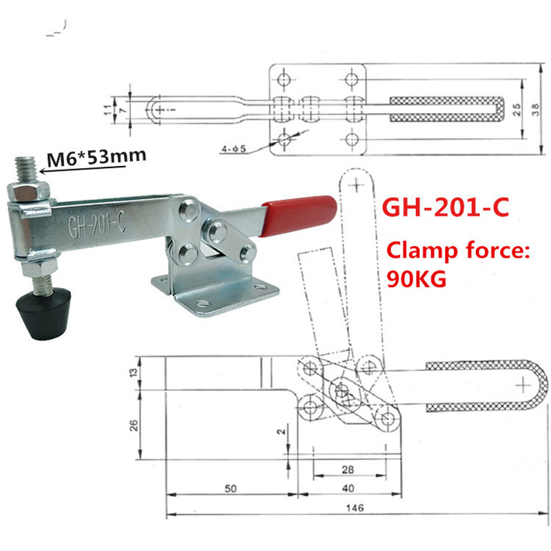 GH-225-D 227Kg Holding Capacity Quick Holding Horizontal Type Toggle Clamp Clip
