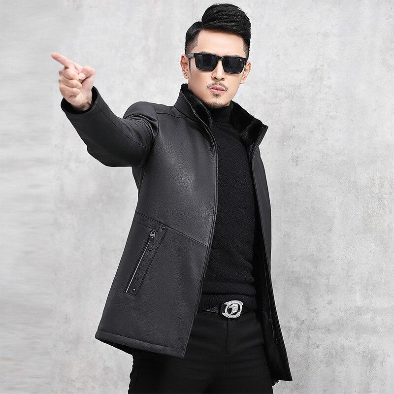 Leather Jacket Mink Fur Collar Jacket Cow Leather Jacket Mens Duck Down Winter Coat Chaqueta Cuero Hombre J18-HF1826 YY743(China)