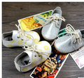 2016 New flower Gingham Baby Moccasins Hard sole Moccs Baby Shoes Newborn firstwalker Anti-slip Genuine Cow Leather Infant Shoes