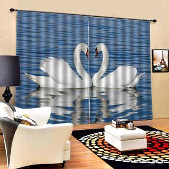 Luxury 3D Window Curtain living room Shower Hooks blueCurtains blackout Tapestry Custom size durble duck curtain