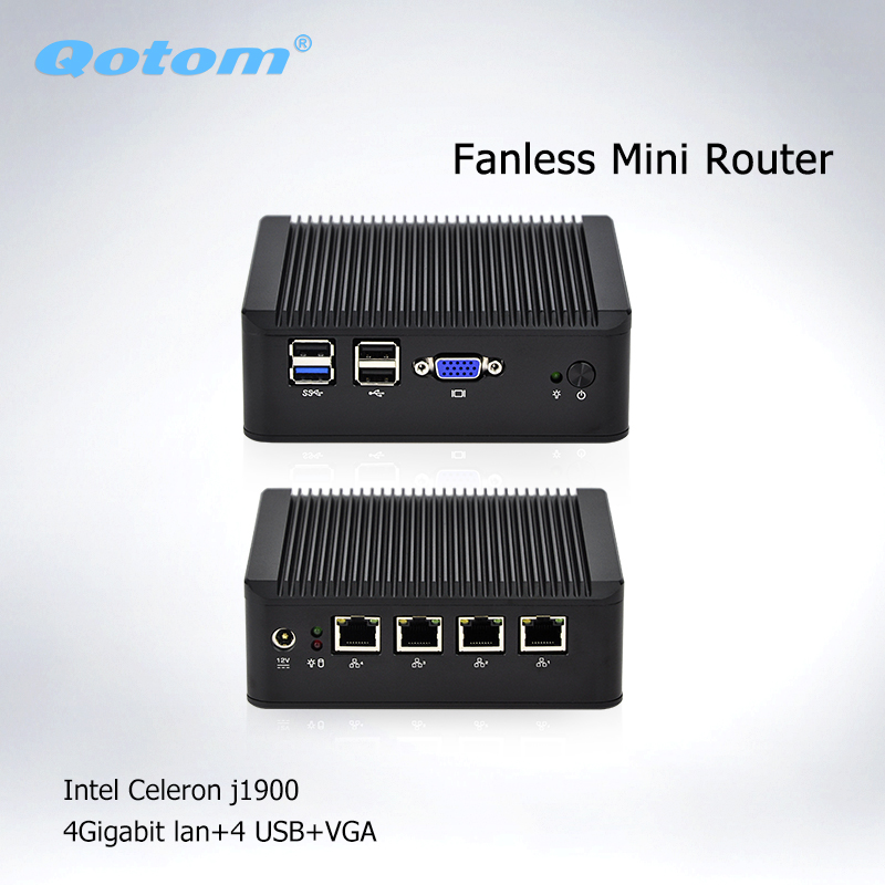 Qotom Barebone Mini PC Nano Itx J1900 4 Intel Lan Mini Computer Pfsense Firewall  Server Linux Ubuntu Fanless Mini PC