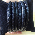 Manufacturer hot products genuine black Python skin leather cords for luxury bracelet making