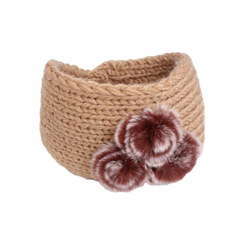 EMS OR DHL 120PCS 2017 New Three Rabbit Hairball Woolen Headband Handmade Crochet Headdress TD 150C
