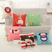 YWZN милый чехол для подушки с рисунком животных, кошек, жирафов, слонов, декоративный чехол для подушки s, английский чехол для подушки funda de almohada