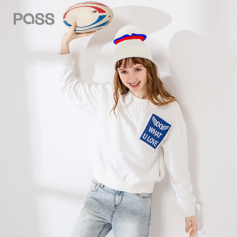 PASS Autumn Winter Women Hoodies White Black Color Letter Print Long Sleeve Sweatershirts Cotton Casual O
