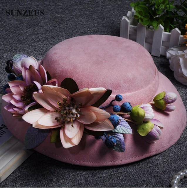 Europa Terciopelo Sombreros Nupciales de la Boda de la Señora Elegante Del Partido de Tarde Sombrero Con Flores Encabezamientos De Mariage Pour Les Femmes Rosa SQ017