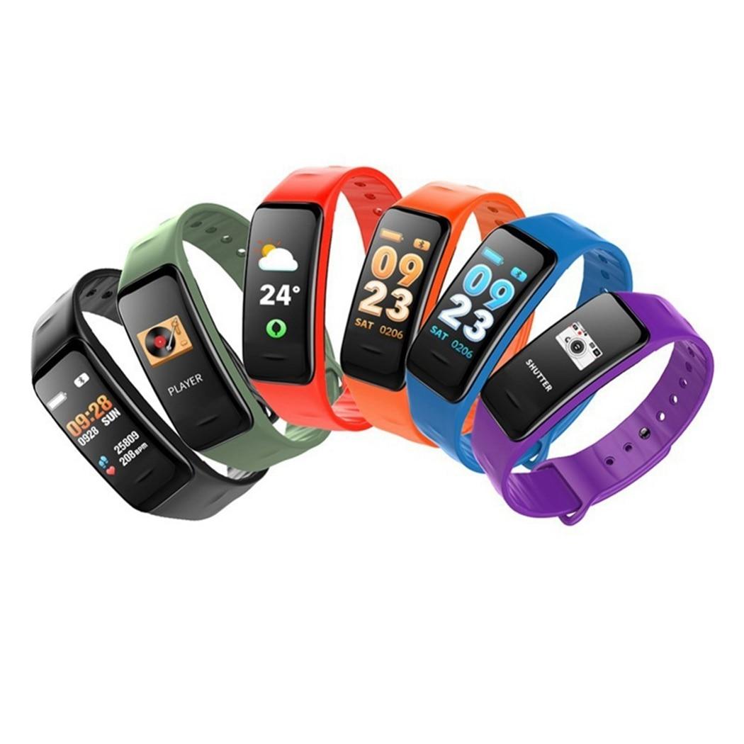 6 Colors Smart Bracelet C1S Color Screen Waterproof Wristband Heart Rate Monitor Blood Pressure Measurement Fitness Tracker 2018